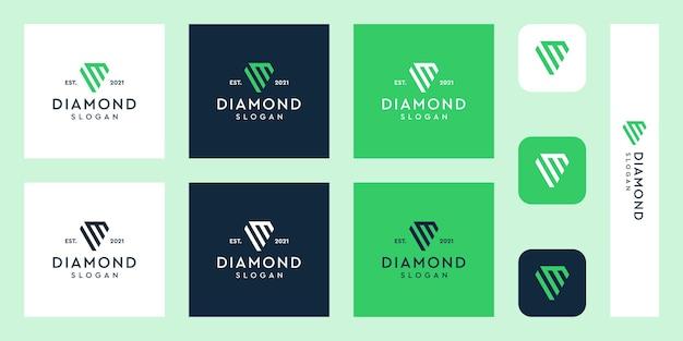Litery m monogram logo z abstrakcyjnymi kształtami diamentów premium wektorów