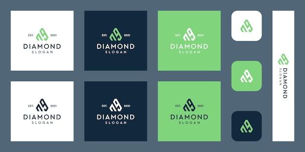 Litery n i g logo monogramu z abstrakcyjnymi kształtami diamentów premium wektorów
