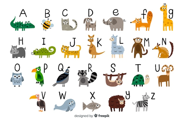 Litery od a do z alfabetu zoo