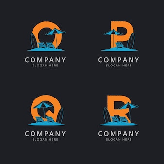 Litery opq i r z szablonem logo streszczenie plaży