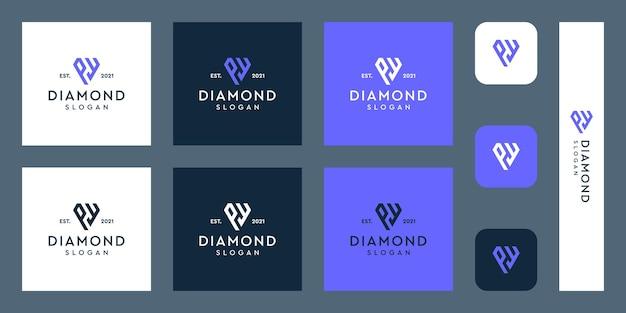 Litery p i w logo monogram z abstrakcyjnymi kształtami diamentów premium wektorów