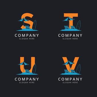 Litery stu i v z szablonem logo streszczenie plaży