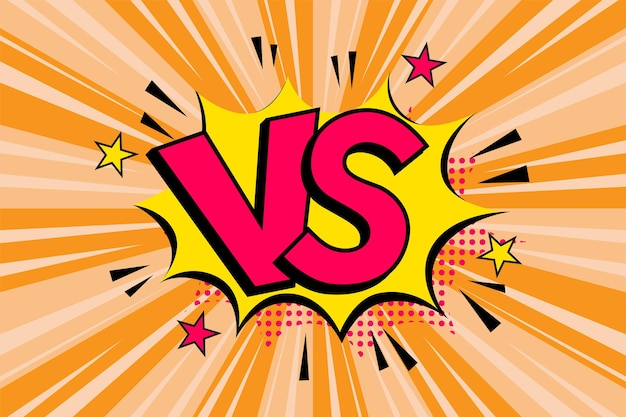 Litery versus vs walczą w stylu płaskiego komiksu z półtonami, błyskawicą.