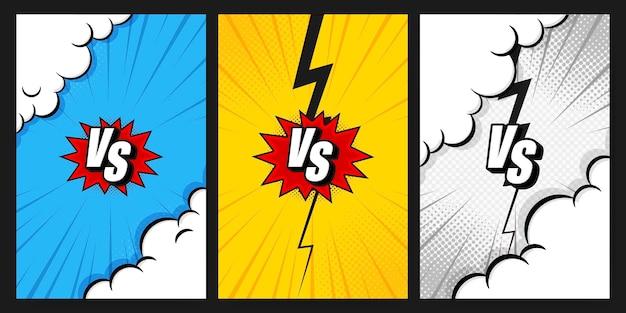 Litery versus vs walczą z pionowymi tłami w stylu płaskiego komiksu z półtonami, błyskawicami. ilustracji wektorowych. szablon historii w mediach społecznościowych.