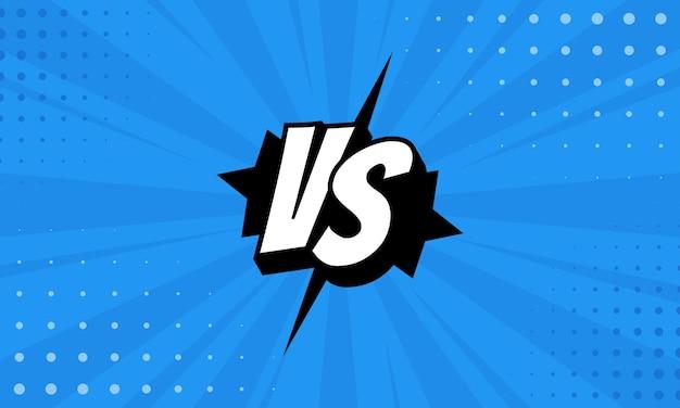Litery versus vs walczą z tłami w płaskim stylu komiksowym z półtonami, błyskawicami. wektor