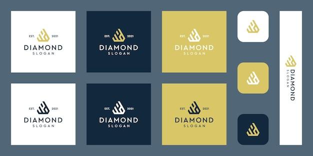 Litery w i d logo monogram z abstrakcyjnymi kształtami diamentów premium wektorów