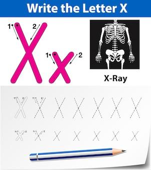 Litery x do śledzenia arkuszy alfabetu