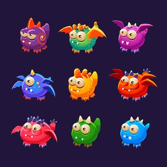 Little alien monsters with and wings collection