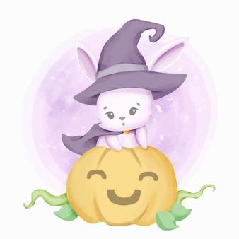 Little cute królik czarownica i uśmiech dyni