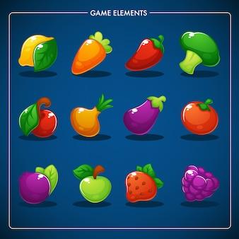 Little farm, match mobile game, obiekty do gier, warzywa, owoce i jagody