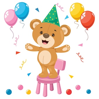 Little funny teddy bear cartoon