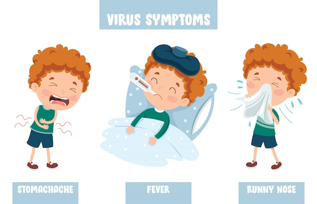 Little kid infected by virus