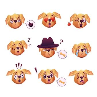 Little pet pug dog puppy with collar kolekcja emoji wyraz twarzy
