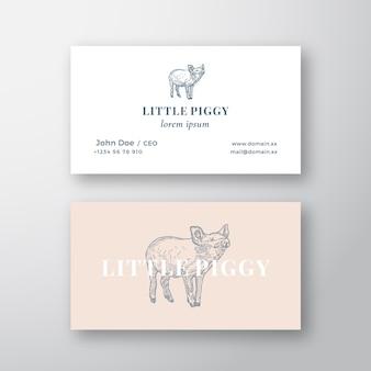 Little piggy streszczenie kobiecy znak lub logo