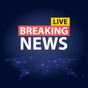 Live breaking news nagłówek na niebieskim tle kropkowanej mapy świata