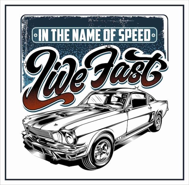 Live fast automotive projekt graficzny