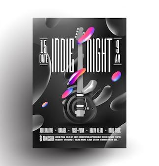 Live indie party night party lub koncert lub plakat festiwalu muzyki rockowej