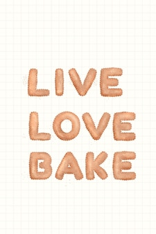 Live love bake typografia ciasteczek