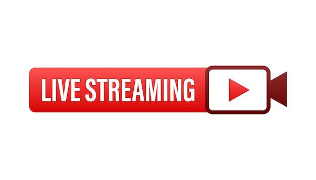 Live streaming płaskie logo - czerwony element projektu wektor z przyciskiem odtwarzania. ilustracja wektorowa.