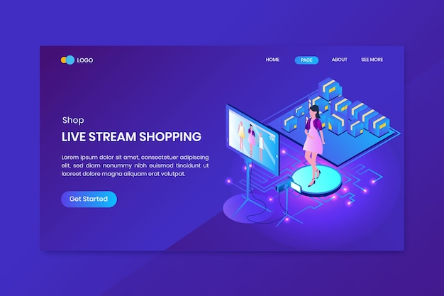 Livestream shopping isometric concept landing page