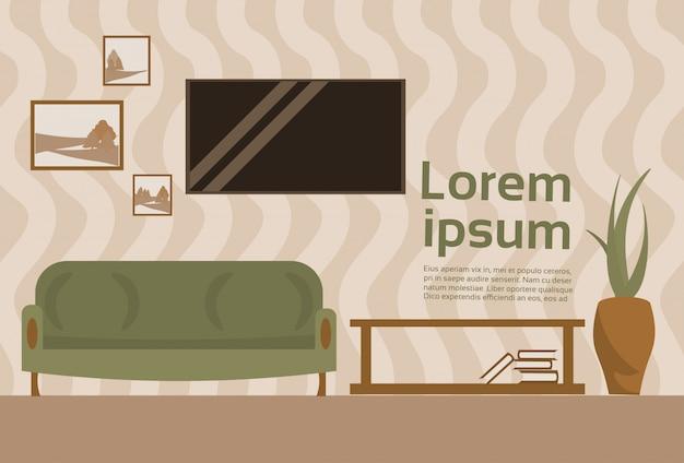 Living room interior z sofa i telewizor wiszące na tle szablonu ściany