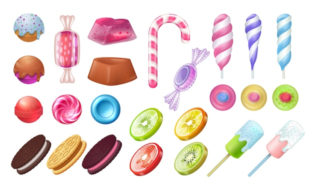 Lizaki i cukierki. okrągłe cukierki czekoladowo-toffi, karmelowe ptasie mleczko i żelki