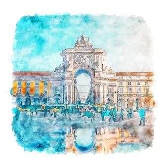 Lizbona portugalia szkic akwarela ręcznie rysowane ilustracja
