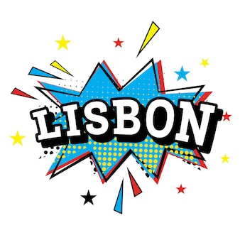 Lizbona. tekst komiks w stylu pop-art. ilustracja wektorowa