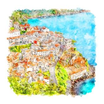 Llastres hiszpania szkic akwarela ilustracja
