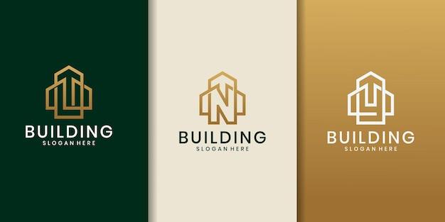 Lny początkowa koncepcja logo z wektorem szablonu budynku. proste logo projektu domu