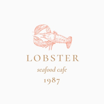 Lobster streszczenie znak, symbol lub szablon logo. ręcznie rysowane siwy lub homara z klasyczną typografią retro. godło vintage seafood cafe. odosobniony.