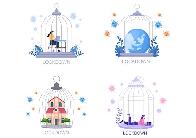 Lockdown covid-19 ilustracja koronawirusa
