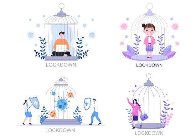 Lockdown Covid-19 Ilustracja Koronawirusa Premium Wektorów