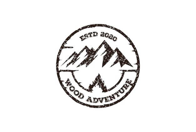 Lód snow mountain emblem label for outdoor wilderness adventure logo design vector
