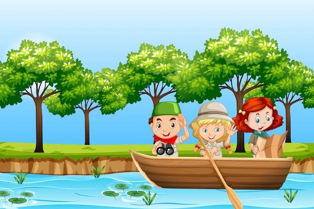 Łódka drewniana wiosła dla dzieci