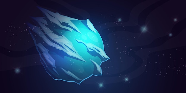 Lodowa planeta w kosmicznej galaktyce kometa z kryształową powierzchnią niebieski zamrożony globus z lodowcami w fa...