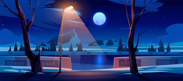 Lodowisko w nocy. puste miejsce publiczne do jazdy na łyżwach