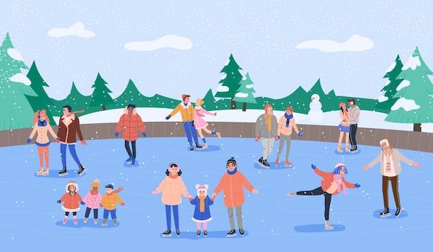 Lodowisko z różnymi uśmiechniętymi ludźmi jeżdżącymi na łyżwach ze swoim przyjacielem