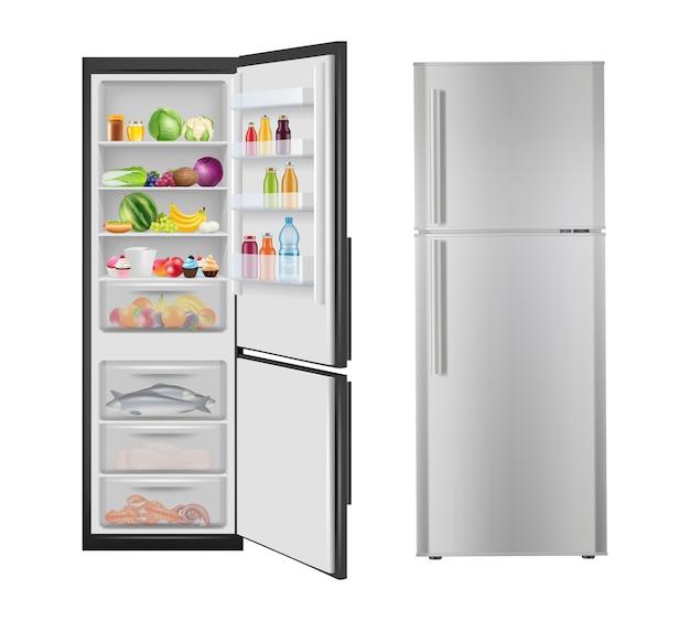 Lodówka z jedzeniem. otwieranie realistycznej lodówki ze świeżymi, zdrowymi produktami, elektryczne nowoczesne urządzenia domowe. ilustracja lodówka i lodówka z jedzeniem