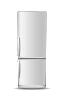 Lodówka z zamrażarką na białym tle. widok z przodu lodówki z białej stali. nowoczesny, realistyczny sprzęt agd