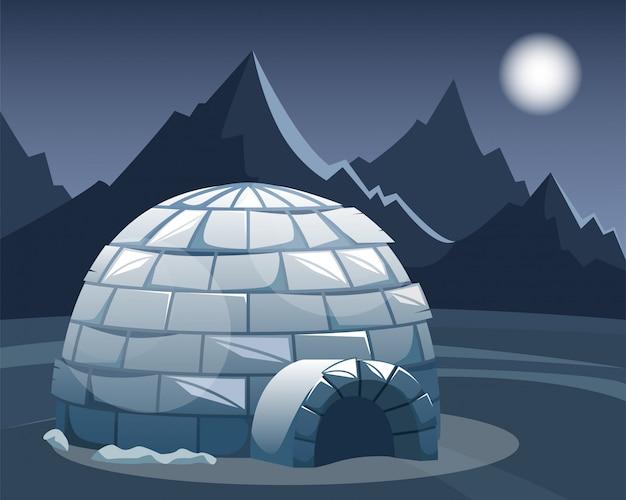 Lodowy igloo w polu przeciw górom. zimowy północny krajobraz w nocy. życie eskimosów.