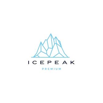 Lodowy szczyt zamontować kamień górska przygoda lodowy szczyt geometryczny logo zarys linii sztuki