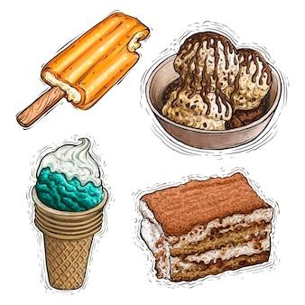 Lody deserowe creamsicle i tiramisu ciasto akwarela ilustracja
