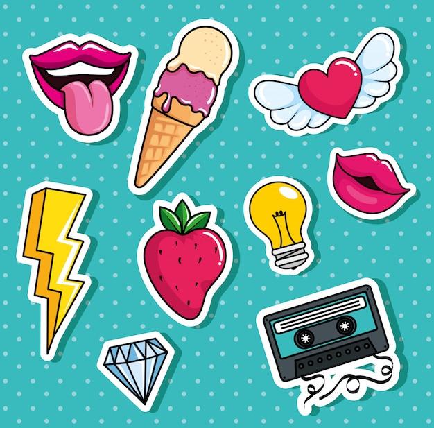 Lody i ustawić ikony stylu pop-art