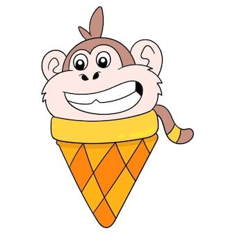 Lody małpa kształt uśmiechający się szczęśliwie, ilustracji wektorowych sztuki. doodle ikona obrazu kawaii.