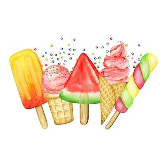 Lody na patyku, gałki lodów ozdobione czekoladą w ramce w kształcie rożka waflowego. akwarela ilustracja na białym tle. czerwone, różowe truskawki, kulki lodów owocowych malin