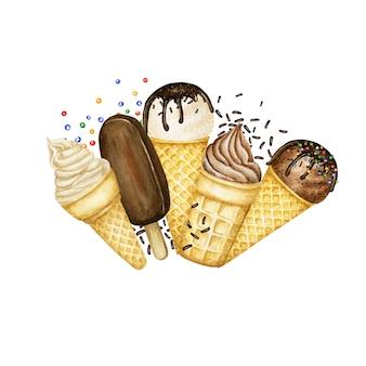 Lody na patyku, gałki lodów ozdobione czekoladą w ramce z logo w kształcie rożka waflowego. akwarela ilustracja na białym tle. wanilia, czekoladowe kulki lodów