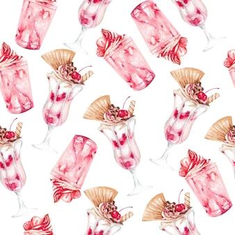 Lody na szklanej akwareli bezszwowym deseniowym białym tle