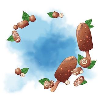 Lody popsicle i orzechy czekoladowe logo tło słodyczy. ilustracji wektorowych