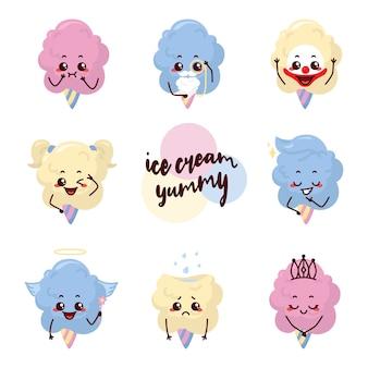 Lody pyszne wata cukrowa ilustracja kwiat postać maskotka naklejka wyrażenie klaun uroczy dziecko dziewczynka księżniczka wąsy niebieski różowy krem mleko wanilia truskawka jagoda